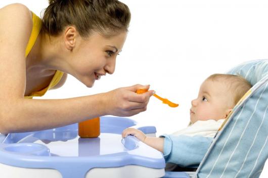 мама прикармливает ребенка с ложечки