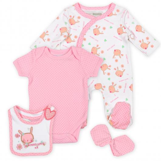 розовая и белая одежда для новорожденного