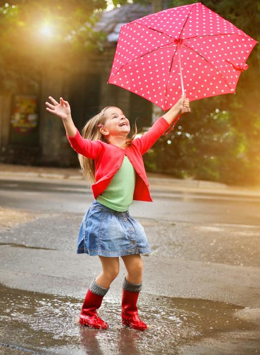 девочка с зонтиком прыгает по луже