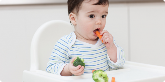 малыш ест морковь и цветную капусту