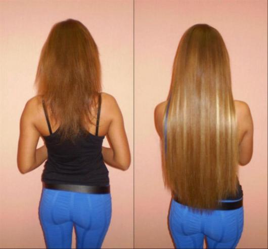 девушка нарастила волосы